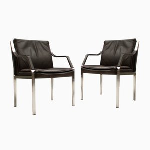 Leather Model Alpha Armchairs from Art Collection Dreipunkt, 1980s, Set of 2