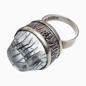 Mid-Century Modern Silver and Rock Crystal Ring by Bengt Hallberg, Sweden, 1969