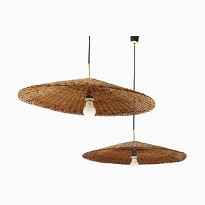 Rattan Pendant Lamps, 1950s, Set of 2