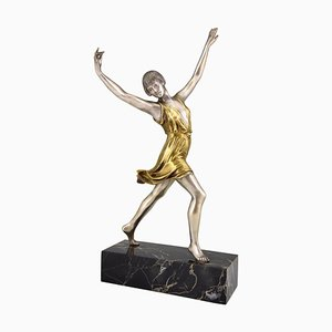 Art Deco French Bronze Dancer Sculpture by Charles Muller, 1920s