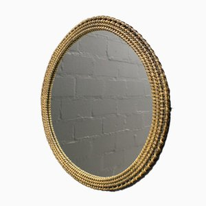 Vintage Italian Round Wicker Wall Mirror, 1960s
