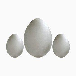 Französische Vintage Egg Tischlampen von Verrerie de Vianne, 1980er, 3er Set