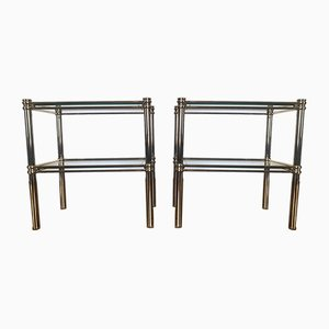 Mid-Century Italian Tiered Brass and Glass Side Tables from Banci Firenze, 1970s, Set of 2