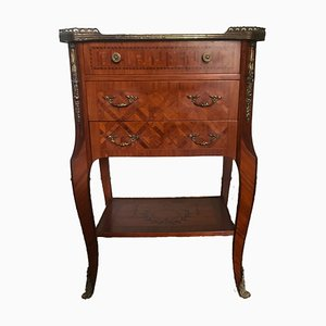 Mid-Century Louis XVI Style French Tiered Marquetry Cherrywood and Brass Side Table, 1960s