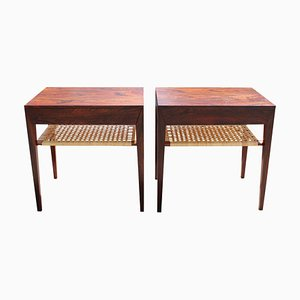 Rosewood & Papercord Shelf Bedside Tables by Severin Hansen for Haslev Møbelsnedkeri, 1960s, Set of 2