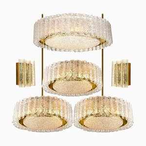 Glass and Brass Light Fixtures by Doria Leuchten Germany, 1960s, Set of 6