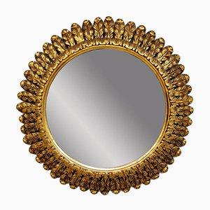 Mid-Century Gold Gilded Sunburst Mirror, 1940s