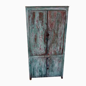 Victorian 4-Door Distressed Paint Cupboard