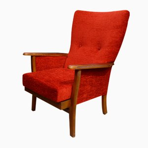 Mid-Century High Back Armchair in Red Velvet