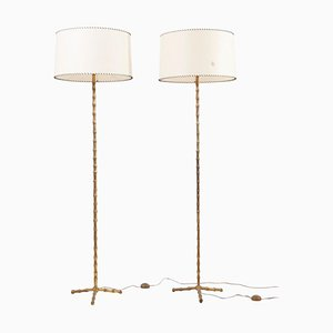 Bamboo Floor Lamps from Maison Baguès, France, 1960s, Set of 2