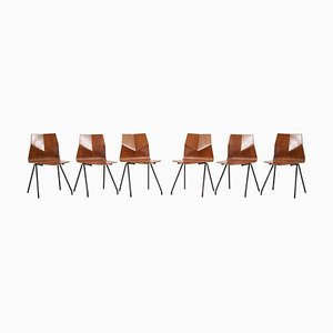 Plywood Dining Chairs by Jean Rene Caillette for Steiner, France, 1950s, Set of 6