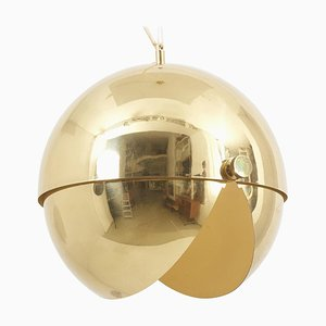 Large Adjustable Brass Pendant Lamp Attributed to Münchner Werkstätten, Germany, 1950s