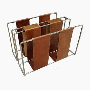 Minimalist Metal and Camel Leather Magazine Rack
