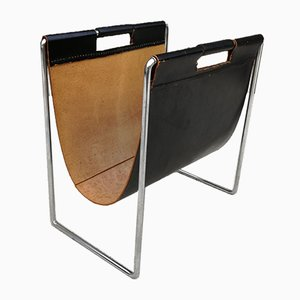 Mid-Century Leather and Chrome Magazine Rack from Brabantia, 1960s