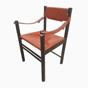Italian Modern Beech and Leather Desk Chair from Ibisco, 1970s