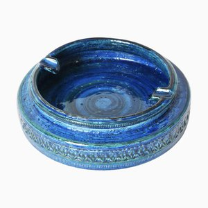 Mid-Century Rimini Blu Glazed Ceramic Ashtray by Aldo Londi for Bitossi, 1960s