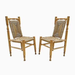 Mid-Century Wood and Braided Rope Dining Chairs, Set of 2