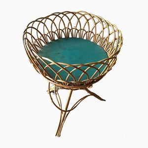 Mid-Century Rattan Basket on Feet, 1960s