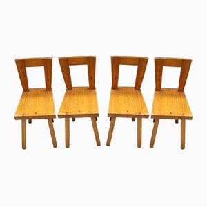 Mid-Century French Pinewood Dining Chairs, 1960s, Set of 4