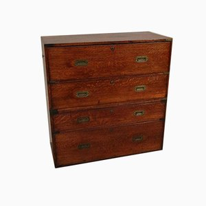 Antique Oak Military Campaign Chest of Drawers