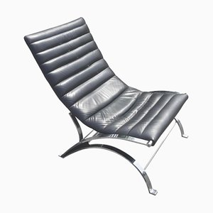 Vintage Leather and Chrome Reclining Lounge Chair, 1970s