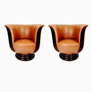 Art Deco Lotus-Shaped Leatherette Armchairs, 1930s, Set of 2