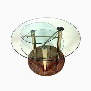 Verchromter anpassbarer Couchtisch aus Glas mit 3 Ablagen auf Marmorfuß, 1970er
