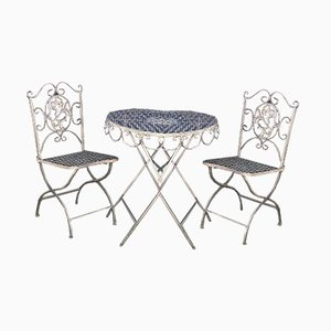 Vintage Foldable Wrought Iron Garden Furniture with Leaf Decoration & Crossbars, Set of 3