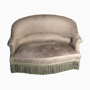 Vintage Toad Sofa Bench Upholstered in Taupe-Colored Velvet, 1980s
