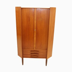 Danish Teak Corner Cupboard Cupboard with 3 Drawers and Doors, 1966
