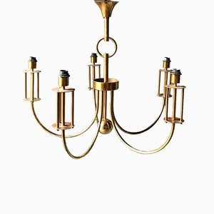 Large Vintage Brass Chandelier, 1970s