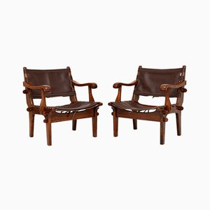 Vintage Leather & Rosewood Safari Armchairs by Angel Pazmino, 1960s, Set of 2