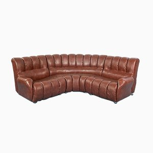 Vintage Brown Skai Modular Corner 4-Seat Sofa, 1970s, Set of 3