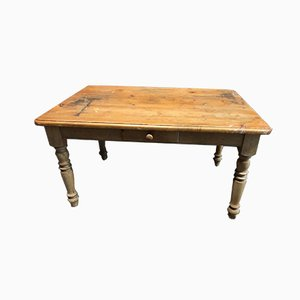 Rustic Farmers Kitchen Table with Drawer, 1930s