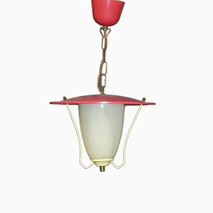 Small Mid-Century Red Ceiling Lamp, 1950s