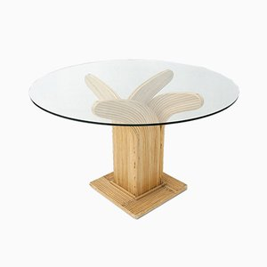Rattan Dining Table by Maurizio Mariani and Giusto Purini for Vivai del Sud, 1980s