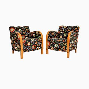 Swedish Art Deco Satin Birch & Fabric Armchairs by Josef Frank, 1920s, Set of 2