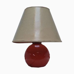 Red Glass Table Lamp, 1970s
