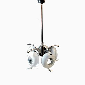 Italian Ceiling Lamp with 5 Flattened Spheres in Opaline Glass and Steel, 1970s