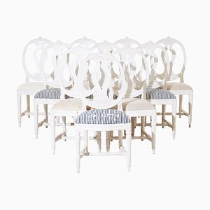 Vintage Gustavian Single Rose Bud Dining Chairs, Set of 10
