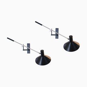 Schwarze Gegengewicht Wandlampen von JJM Hoogervorst für Anvia, 1950er, 2er Set