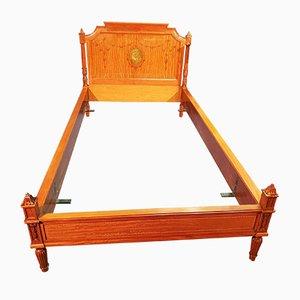 Antike Lackierte Zitronenbaum Betten, Nachttisch und Spiegel Set