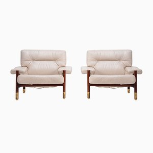 Mid-Century Italian Beige Leather and Rosewood Model Sella Lounge Chairs by Carlo de Carli for Luigi Sormani, 1960s, Set of 2
