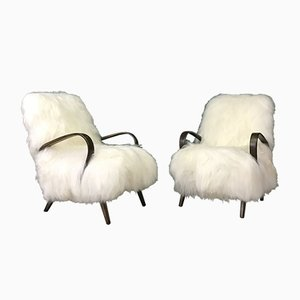 Vintage Bentwood and White Sheepskin Armchairs, Set of 2