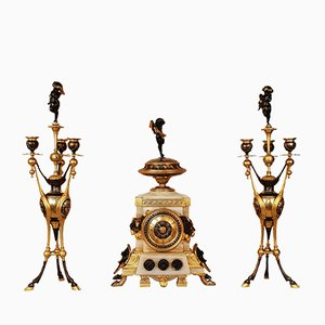 Large 19th Century Neo-Etruscan Clock and Candleholders Set by Henri Picard