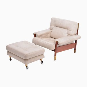 Mid-Century Italian Beige Leather and Rosewood Model Sella Lounge Chair and Ottoman Set by Carlo de Carli for Luigi Sormani, 1960s