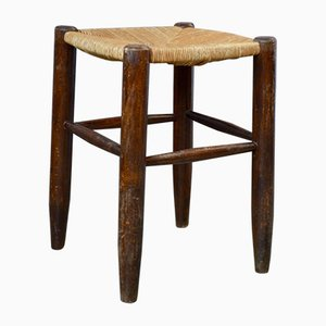 Rustic Wood and Straw Stools, 1960s, Set of 8