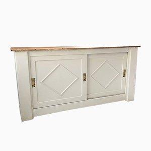 Mid-Century White Sliding Door Sideboard, 1950s