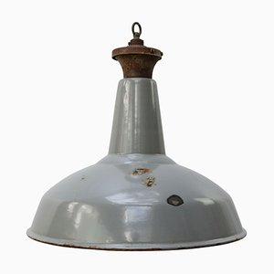 Vintage Industrial British Gray Enamel Pendant Lamp