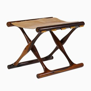 Danish Modern Rosewood & Niger Leather Guldhøj Stool by Poul Hundevad for Hundevad & Co., 1960s